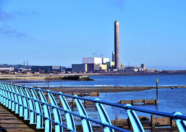 Kilroot power plant as seen from Carrickfergus seafront