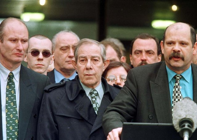 Loyalists supported the Belfast Agreement. Pictured are PUP leader David Ervine, right, Hugh Smyth, centre, and Billy Hutchison, left, at Stormont, after its signing in 1998. Good dialogue with Dublin was central to getting agreement. Photo: Brian Little/PA Wire
