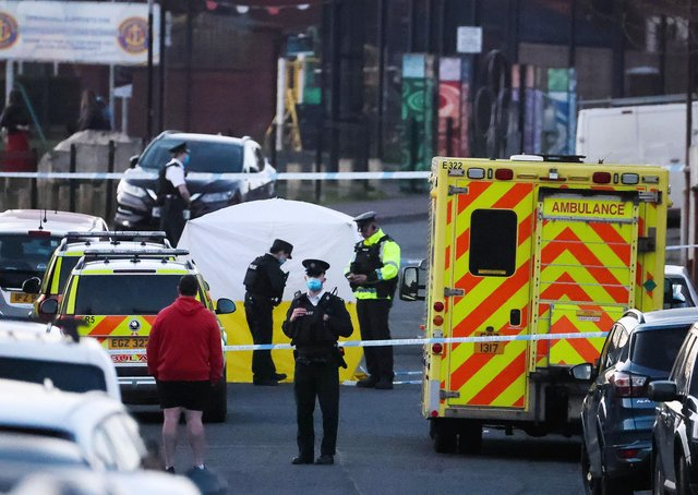 The scene of the crash in the Ballymurphy area of west Belfast on Saturday evening