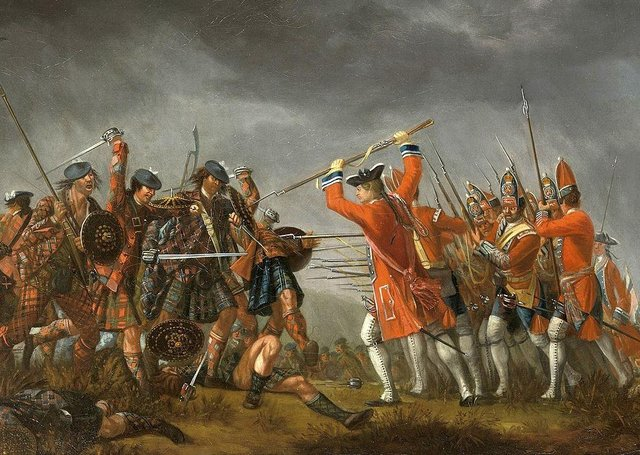 A scene from the Battle of Culloden from the Royal Collection
