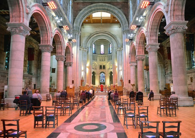 St Anne's Cathedral in Belfast reopens for an Easter Sunday service. Picture By: Arthur Allison/Pacemaker.