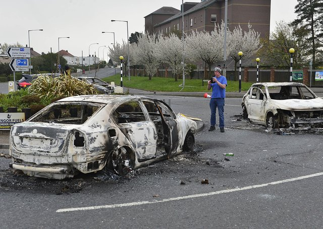 Cars were burnt out by loyalist rioters in Newtownabbey on Saturday night.Picture By: Arthur Allison/Pacemaker.