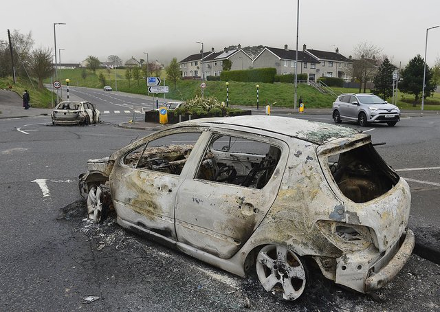 Police were attacked with petrol bombs and fireworks in Newtownabbey. Officers were targeted at the Cloughfern roundabout in the O'Neill Road area. Picture By: Arthur Allison/Pacemaker.