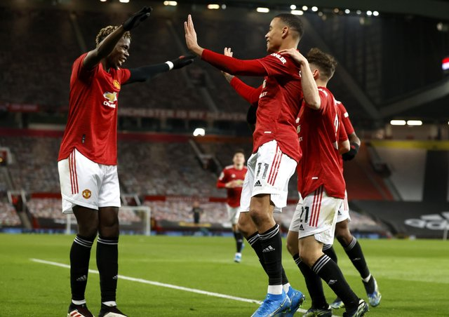 Manchester United's Mason Greenwood celebrates scoring at the weekend.  Photo: Phil Noble/PA Wire.