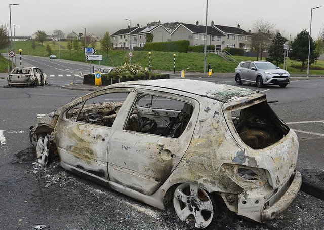 The aftermath of the violence at the Cloughfern roundabout in the O'Neill Road area of Newtownabbey at the weekend.Picture By: Arthur Allison/Pacemaker.