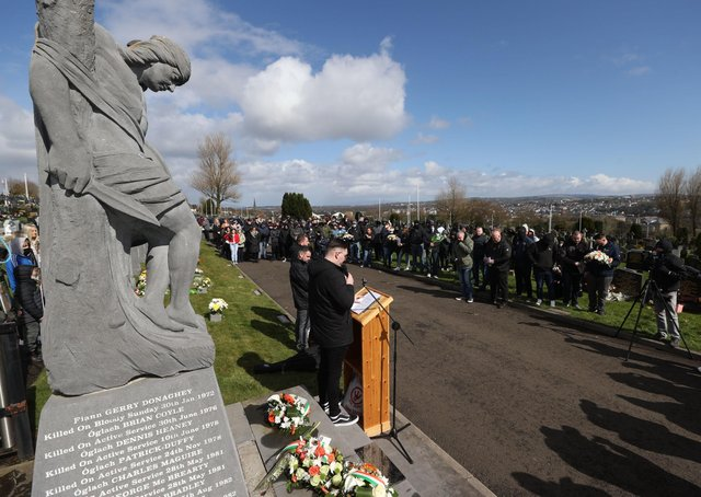 People take part in a dissident Easter Monday wreath laying ceremony in Derry City cemetery, Creggan, Northern Ireland. Photo: Liam McBurney/PA Wire