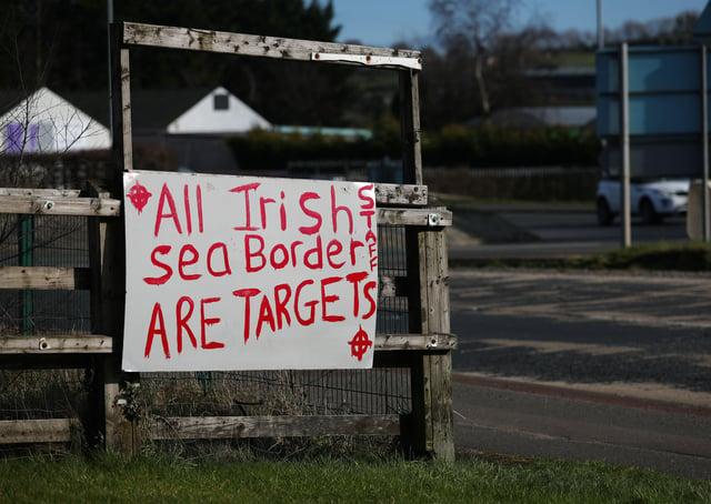 Graffiti in Larne Co Antrim referring to the Irish sea border and the NI Protocol