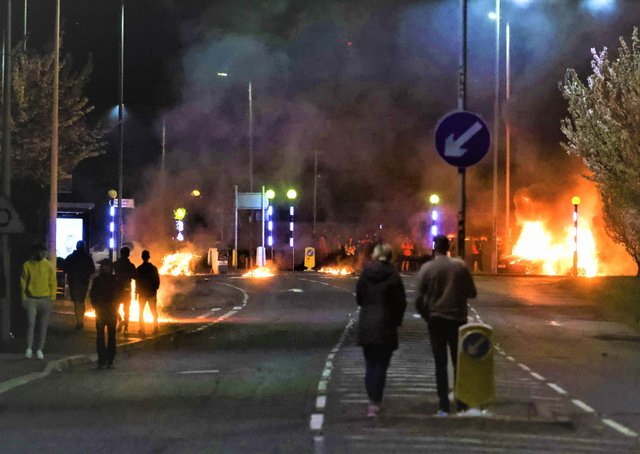 General view of cars burning in  Newtownabbey on Saturday April 3