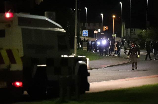 The police on the scene of a protest at the Antiville roundabout in Larne.Photo by Kelvin Boyes / Press Eye.