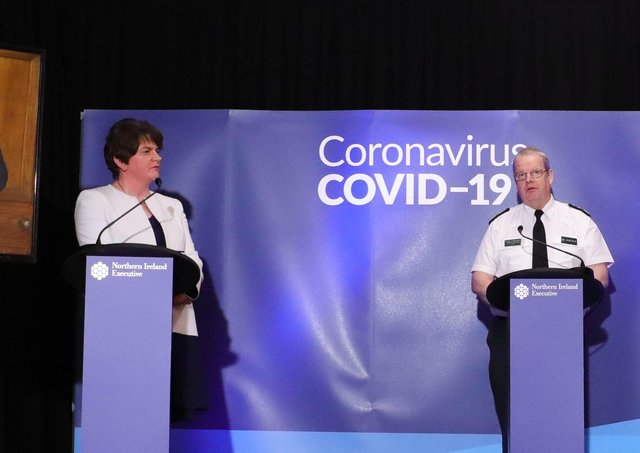 The first minister Arlene Foster at a Covid press conference alongside the chief constable Simon Byrne at a Covid press conference last year