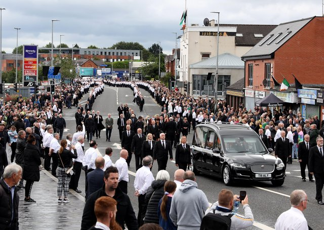 The Stormont debate was chaired by a speaker who advertised the Bobby Storey funeral, above, addressed by a deputy first minister who had a file sent to prosecutors about her being there and by an MLA with whom the PSNI planned it