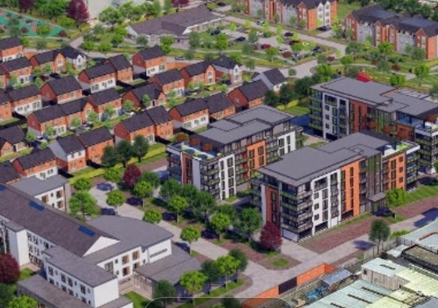 An artist's impression of housing plans for the Belfast Road site.
