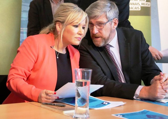 Michelle O'Neill, after whose u-turn on closing schools on Friday there was escalating criticism of the UK approach, and John O'Dowd, who tweeted about a 'shire of bastards' conducting a medical experiment