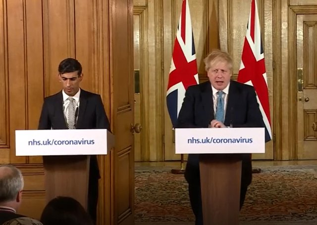 Chancellor Rishi Sunak and Prime Minister Boris Johnson during a media briefing in Downing Street
