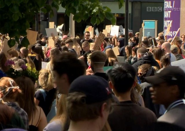"""Black Lives Matter protest in Belfast on Wednesday, at which social distancing was not observed, and which breached rules on large gatherings. Mark Hamilton: """"It was also interesting that there was little criticism of the mass Black Lives Matter protests in the United States, Belfast, Dublin and the UK with regard to social distancing"""""""