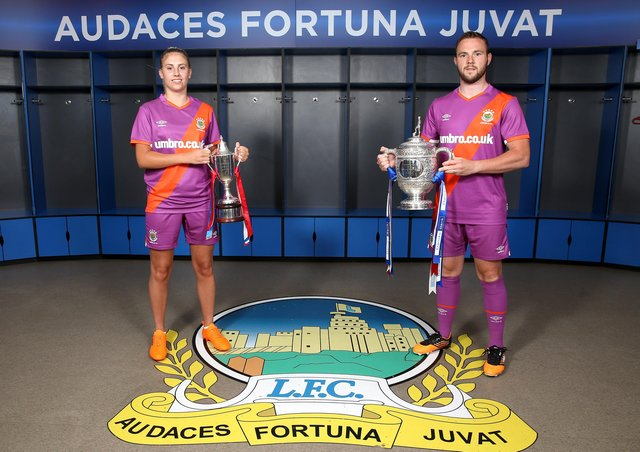 Linfield launched their new Umbro away kit last week for the start of the 2020/2021 season at Windsor Park. Ladies player Kelsie Burrows and Linfield club captain Jamie Mulgrew are pictured in the new kit.