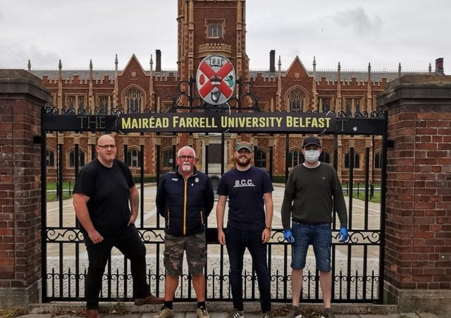 Lasair Dhearg members 'renamed' QUB after former student and IRA member Mairéad Farrell.