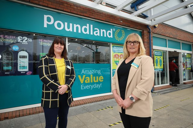 Olivia McLoughlin and Sharon Sheridan, Poundland Ireland Retail Country Managers at the opening of the new Poundland store located in Spires Retail Park, Armagh