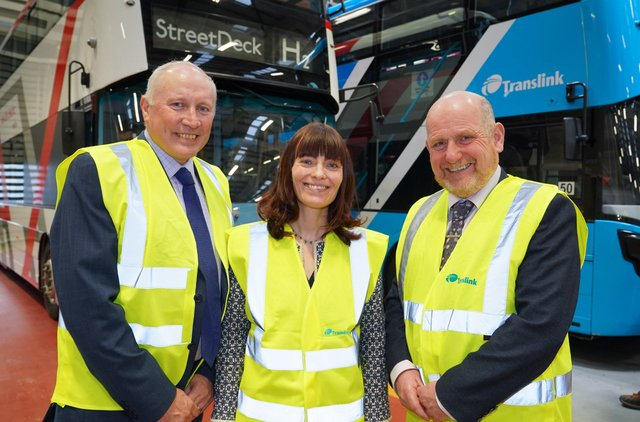 Guest speakers Mark Welsh and Paul McCormack with Minister for Infrastructure, Nichola Mallon