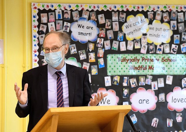 Education Minister Peter Weir during a visit to Tullygally Primary School in Craigavon