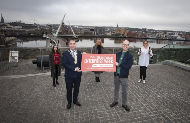 The Mayor of Derry City and Strabane District Council, Brian Tierney pictured at Ebrington for the launch of the 'Level Up Initiative with Alastair Cameron, founder, Startacus. Back from left are Jade Bradley, Restore Nutrition, Laverne O'Donnell, Business Officer, DCSDC and Emily McCorkell, Lo and Slo