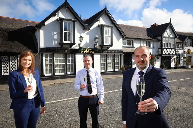 Pictured celebrating the announcement are The Old Inn project team Charlotte McClean, Andy Johnston and Colin Johnston