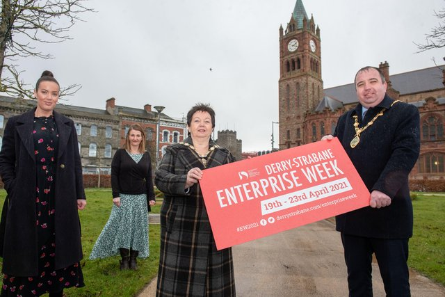 The Mayor Councillor Brian Tierney and Londonderry Chamber of Commerce President Dawn McLaughlin pictured with Louise Breslin,  Business Development Manager and Emma McGill, Strabane Town Centre Development Manager at the launch of Derry City and Strabane District Council's annual Enterprise week