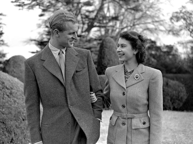File photo dated 23/11/47 of Princess Elizabeth enjoying a stroll with her husband the Duke of Edinburgh in their first public appearance since their wedding. The Duke of Edinburgh has died, Buckingham Palace has announced.