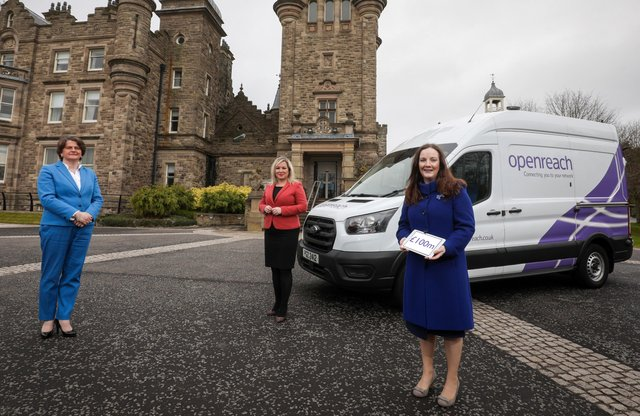Arlene Foster, First Minister of Northern Ireland, Michelle O'Neill, deputy First Minister alongside Mairead Meyer, Director of Openreach in Northern Ireland