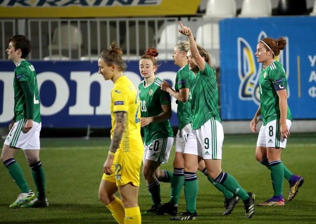 Northern Ireland's Simone Magill celebrates scoring against Ukraine during the UEFA Women's Euro 2022 play-off first leg at the Kolos Kovalivka Stadium. Pic by PressEye Ltd.