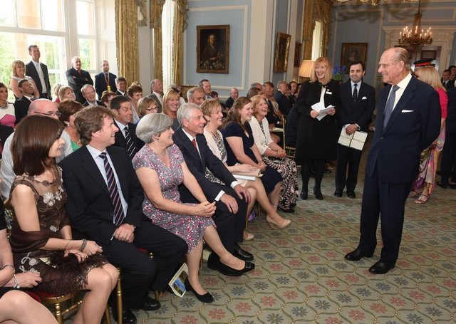 The Duke of Edinburgh in Hillsborough Castle for the award of the 1000th Duke of Edinburgh Award in Northern Ireland on June 23, 2014.  In Belfast 14 organisations and 55 centres offer young people the opportunity to gain the internationally recognised award (Photo by Simon Graham/Harrison Photography via Getty Images)