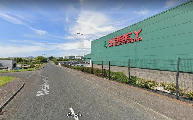 Abbey Upholsterers at Meadowbank Road, Carrickfergus.  Picture:  Google