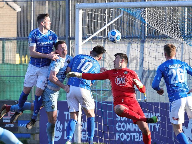 Stephen O'Donnell heads home the winner for Coleraine