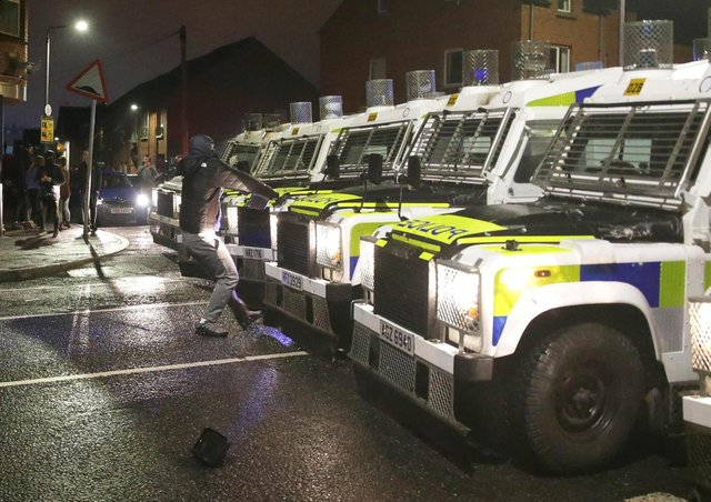 The PSNI came under attack during public disorder in Belfast on Wednesday evening. Photo: Pacemaker