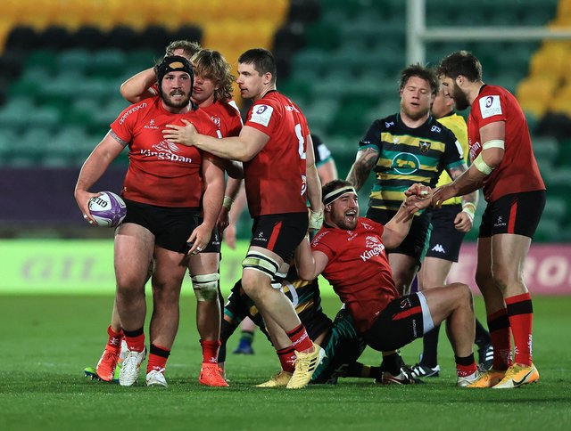 Ulster players celebrate as Tom O'Toole (L) wins the ball during the European Rugby Challenge Cup, quarter final match between Northampton Saints and Ulster at Franklin's Gardens. (Photo by David Rogers/Getty Images)