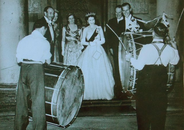 The Queen and Prince Philip enjoying the sound of Lambeg Drums, Hillsborough Castle 1953