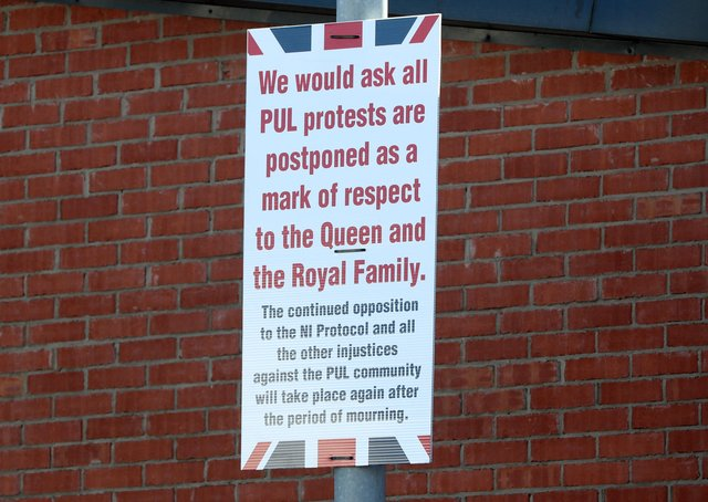 Press Eye - Lanark Way - Belfast - 11th April 2021Photograph by Declan Roughan / PresseyeLanark Way - PUL (Protestant, Unionist Loyalist) posters calling for postponement of protests as a mark of respect to the Royal Family following the death of the Duke Of Edinburgh.