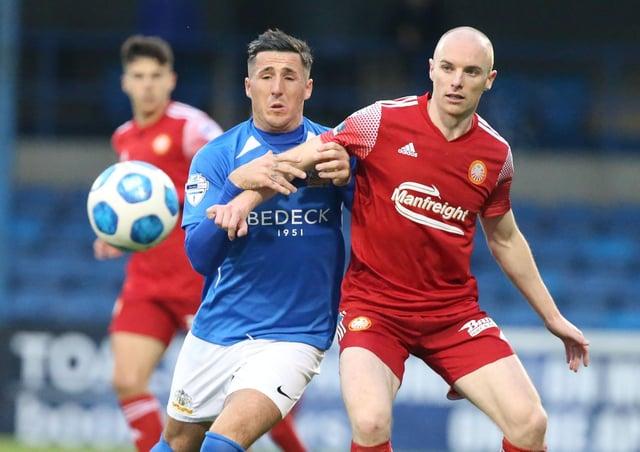 Portadown defender Greg Hall (right). Pic by PressEye Ltd.