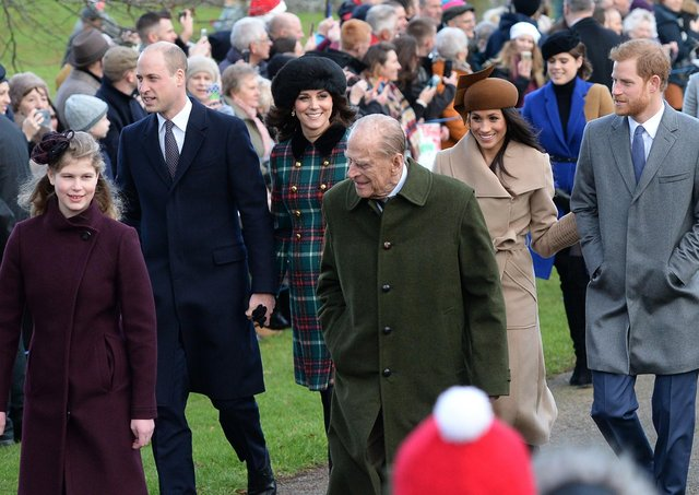 File photo dated 25/12/17 of (Left-right front) Lady Louise Windsor, the Duke of Edinburgh, (left-right centre) The Duke and Duchess of Cambridge, Meghan Markle and Prince Harry arriving to attend the Christmas Day morning church service at St Mary Magdalene Church in Sandringham, Norfolk