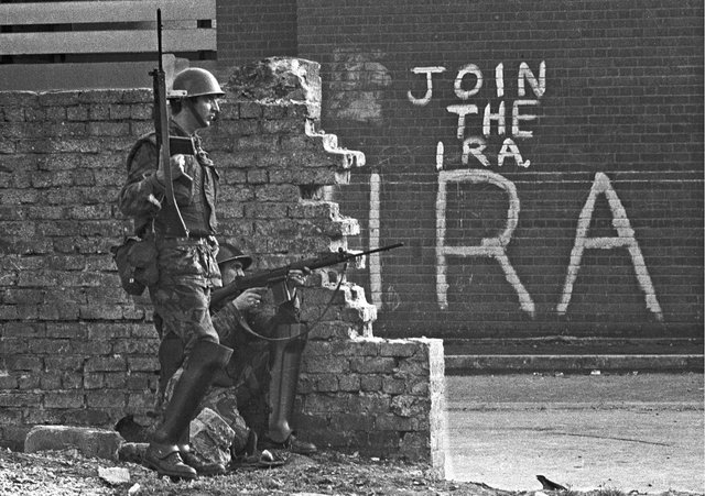 Soldiers in Londonderry in September 1969, as the Troubles was in its infancy.