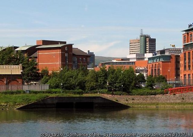 The culverted mouth of the Blackstaff at the Belfast Gasworks. Photo © Rossographer (cc-by-sa/2.0)