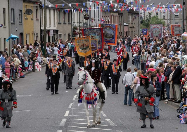 The Twelfth demonstrations led by King Billy make their way through Maguiresbridge, Co Fermanagh in 2006. Picture: John McVitty/News Letter archives