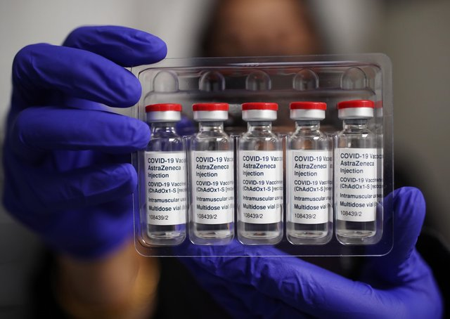 Vials of the Oxford/AstraZeneca coronavirus vaccine. Ireland's advisory body has recommended restrictions of its use after the European Medicines Agency warned that it is associated with rare blood clots. Photo: Yui Mok/PA Wire