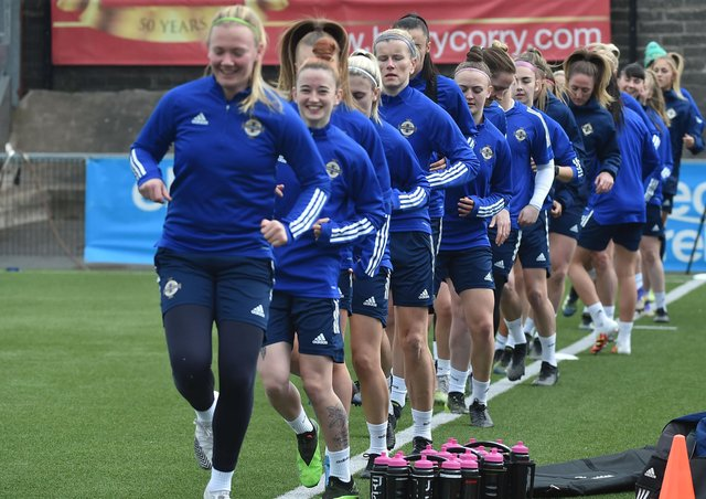 PACEMAKER PRESS BELFAST 12/04/2021Northern Ireland    during training at Seaview in Belfast ahead of  Northern Irelandâ€TMs Women UEFA Women's Euro 2022  second leg Play Off match against Ukraine.Pic Colm Lenaghan/Pacemaker