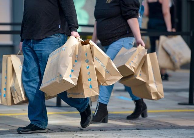 Shoppers leaving Primark