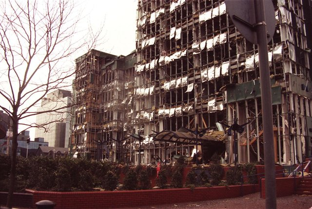 London's Docklands were devastated in an IRA bomb blast in 1996