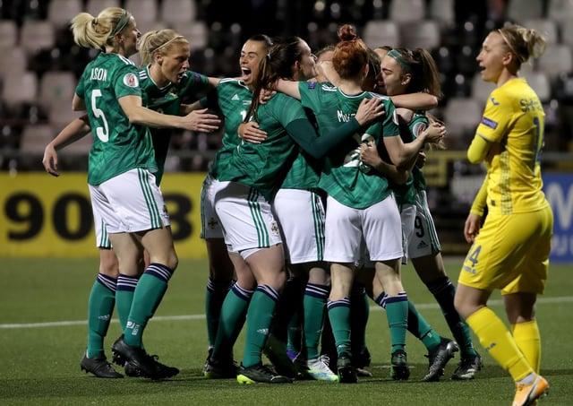 Northern Ireland's Marissa Callaghan celebrates scoring against Ukraine during.  Photo by William Cherry/Presseye