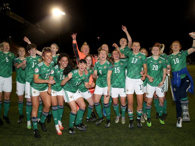 Northern Ireland players celebrate at the final whistle after defeating Ukraine and qualifying for the the UEFA Women's Euro 2022.