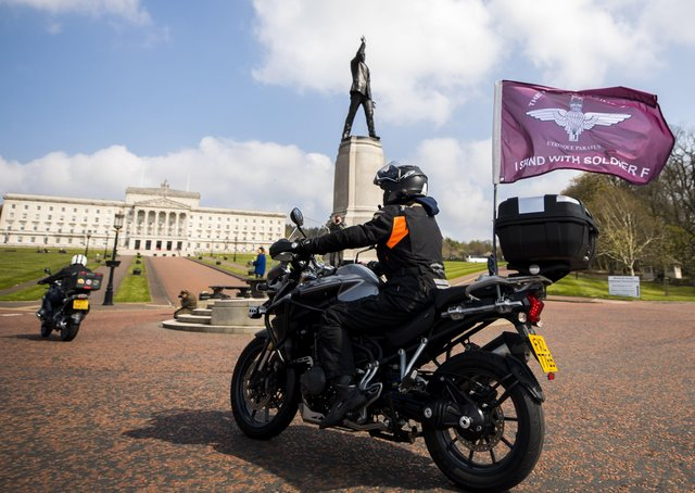 One of a number of motorcyclists who took part in the Rolling Thunder protest in Belfast in April 2019. Photo: Liam McBurney/PA Wire