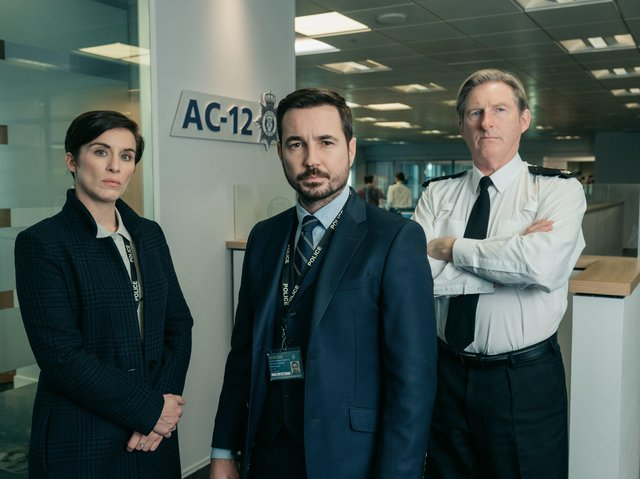 Vicky McClure as Detective Sergeant Kate Fleming, Adrian Dunbar as Superintendent Ted Hastings and Martin Compston as Detective Sergeant Steve Arnott